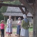 Madison, Tasha, & Lisa demonstrate toymaking at Schiele