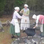 Tasha, Lisa, & Addie dipping candles